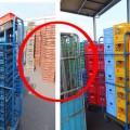 回収容器はメーカー、大きさ、色ごとに統一して積み上げるように改善。 同様に段ボールなども「整理基準」を設けドライバーに配慮している