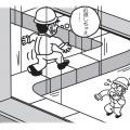 手すりのない建築物の上はとても危険。安全な通路を使用すること