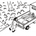 坂道に停めたトラックが動き始めてパニックになり、 止まるはずがないトラックを止めようとしてしまう