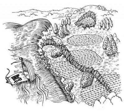 沈下した田畑に押し寄せる海水 イラスト 吉川 泰生