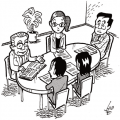 産保スタッフが復職可否判定会議をコーディネート (※イラストはイメージです)