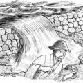 溜まった砂が堤防決壊の原因に イラスト 吉川 泰生