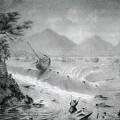 津波時の下田港とディアナ号 作画 モジャエフスキー