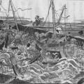 堀川を遡上する津波と大船 画 大阪歴史博物館蔵